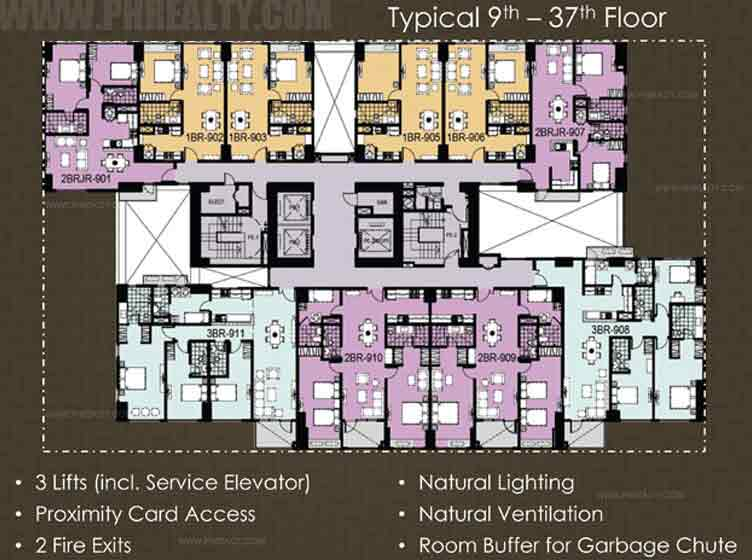 Typical 9th - 37th Floor Plan