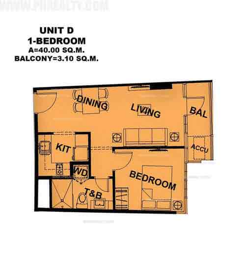 Unit D 1 Bedroom
