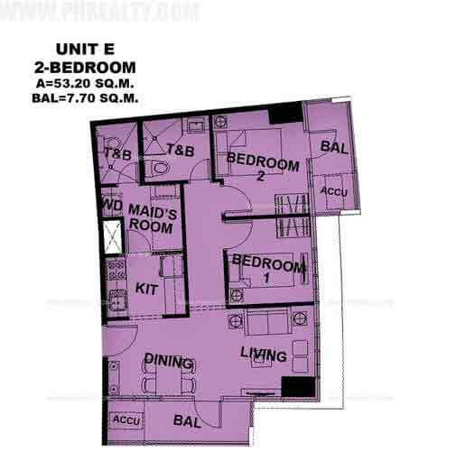 Unit E 2 Bedroom