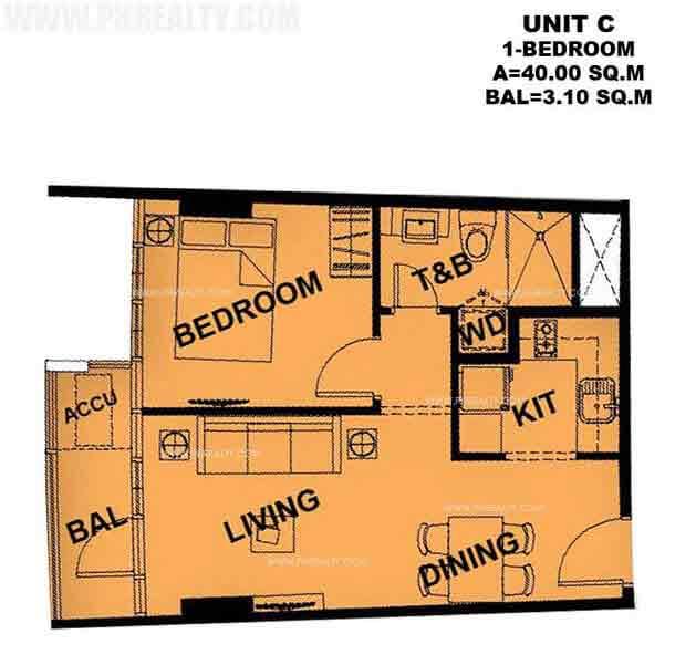 Typical Unit C 1 Bedroom