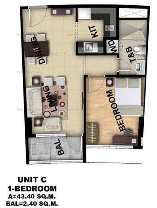 Unit C 1 Bedroom