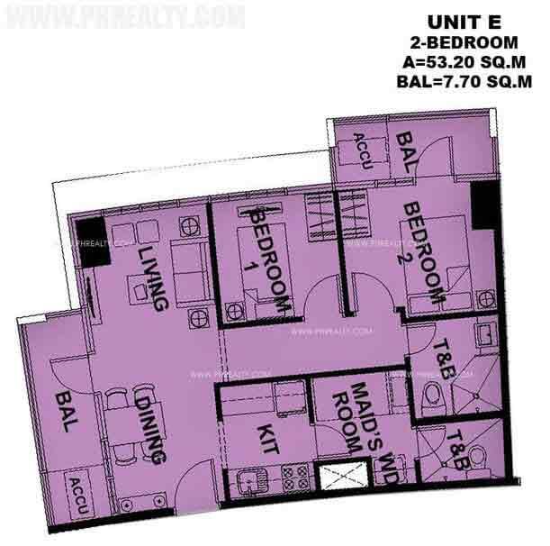 Typical Unit E 2 Bedroom
