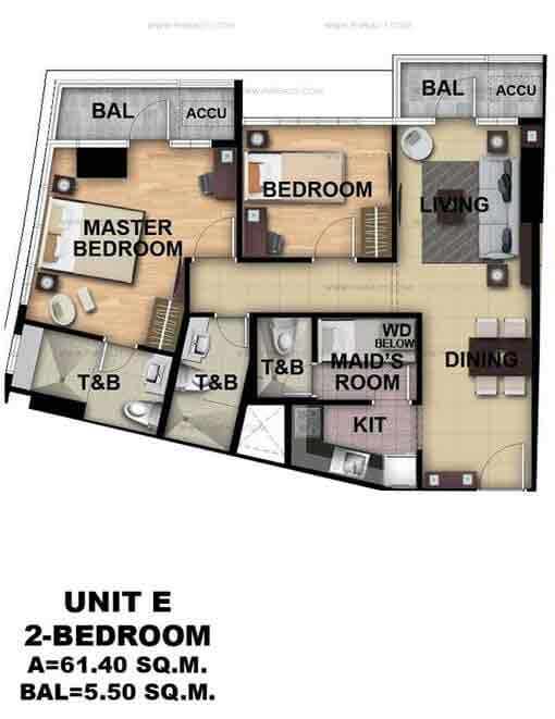 Unit E 2 Bedroom