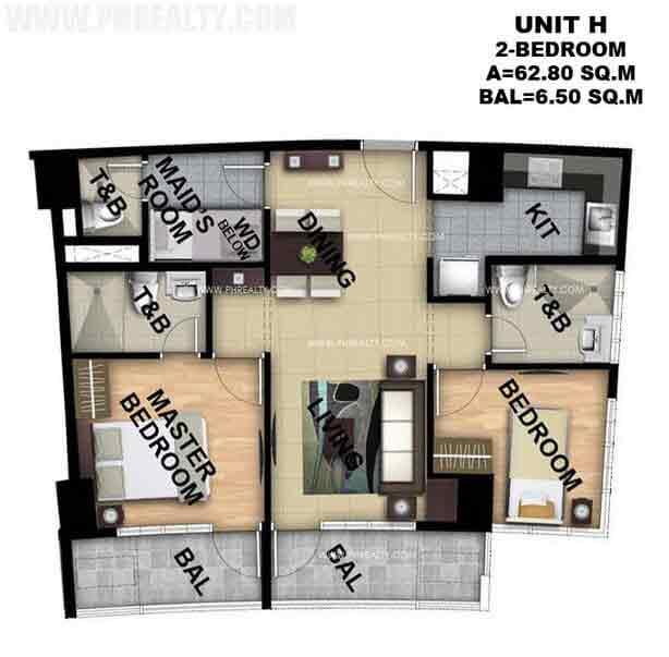 Typical Unit H 2 Bedroom
