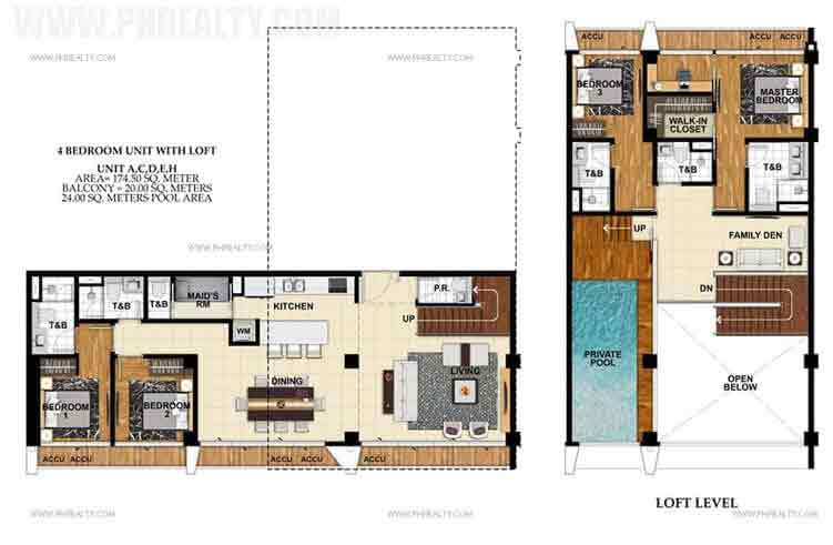 Unit A,C,D,E,H 4 Bedroom