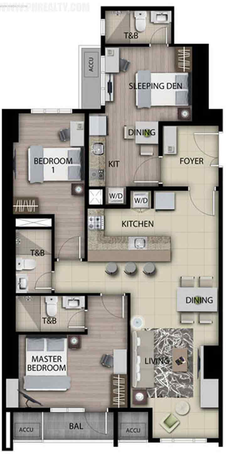 Unit A - B : 2 BR with Balcony