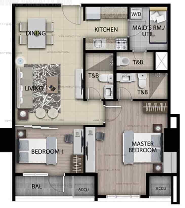 Unit C - Two Bedroom Typical Plan