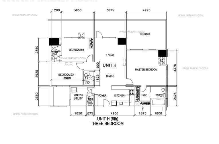 Unit H- Three Bedroom