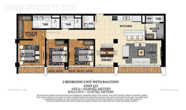 Unit J,O 3 Bedroom Unit With Balcony