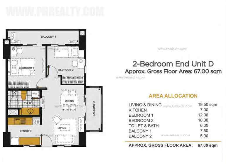2 - Bedroom End Unit D