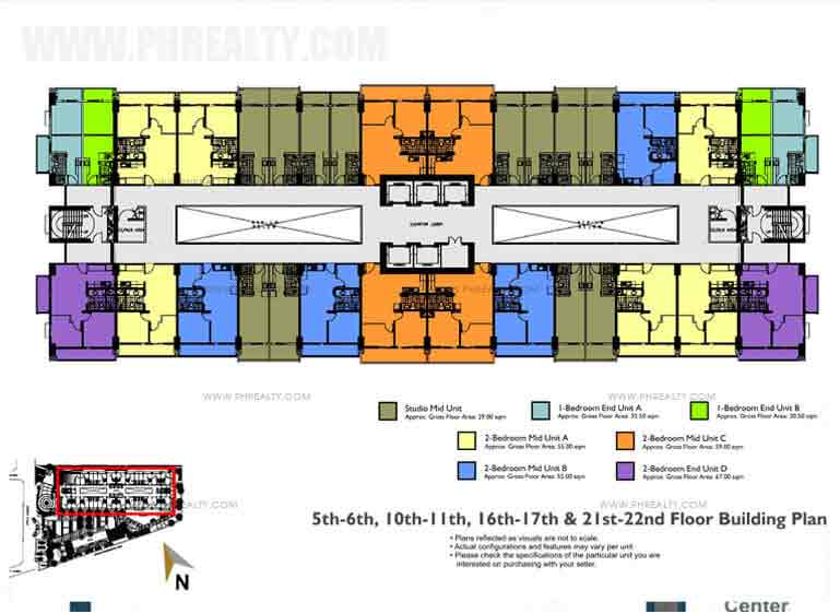 Building Floor Plan 5th-6th, 10th-11th, 16th-17th & 21st-22nd Floor