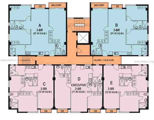 2nd to 4th Typical Floor Plan