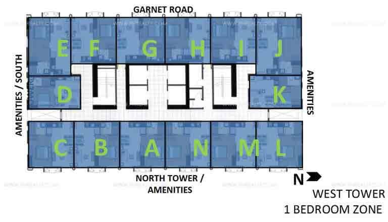 West Tower 1 Bedroom Zone