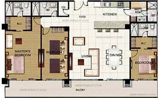 3 Bedroom Unit With Balcony